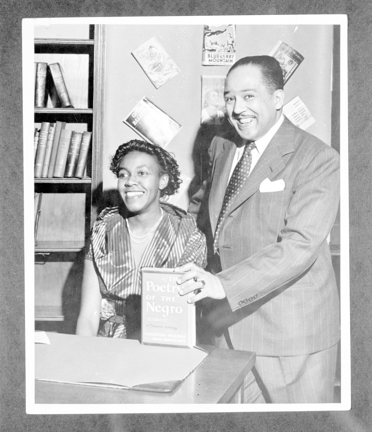 Photograph of Langston Hughes with Gwendolyn Brooks.