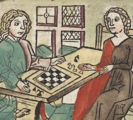 woodcut depicting a couple playing a board game