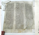 Composite photograph of the sefer Torah fragments.
