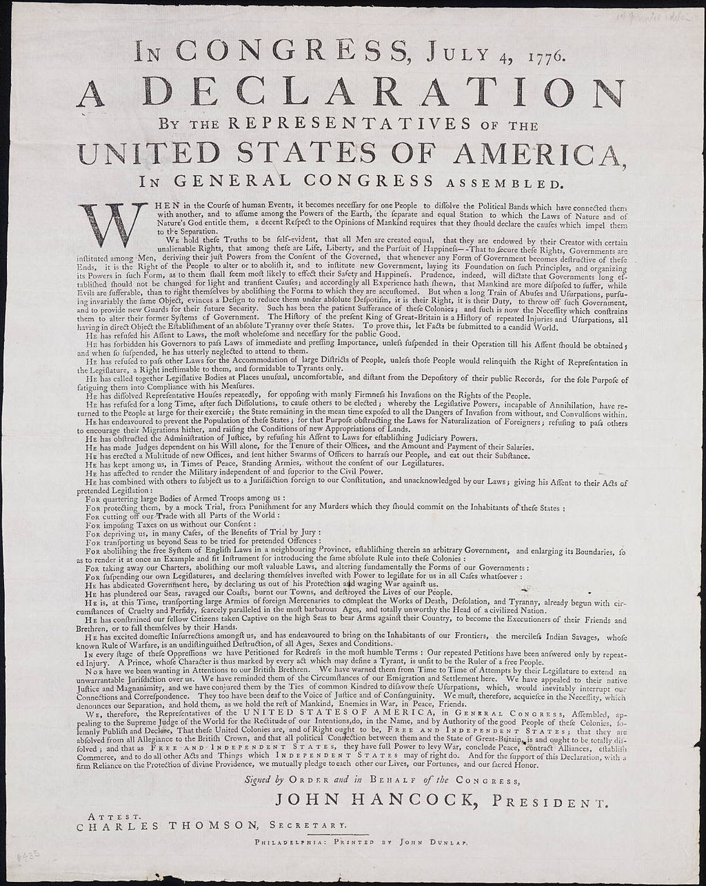image about Printable Copy of the Declaration of Independence known as To start with Printing of Declaration of Liberty upon Opinion