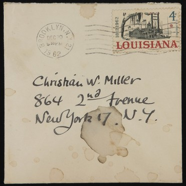 Envelope addressed to Christian William Miller by artist Paul Cadmus