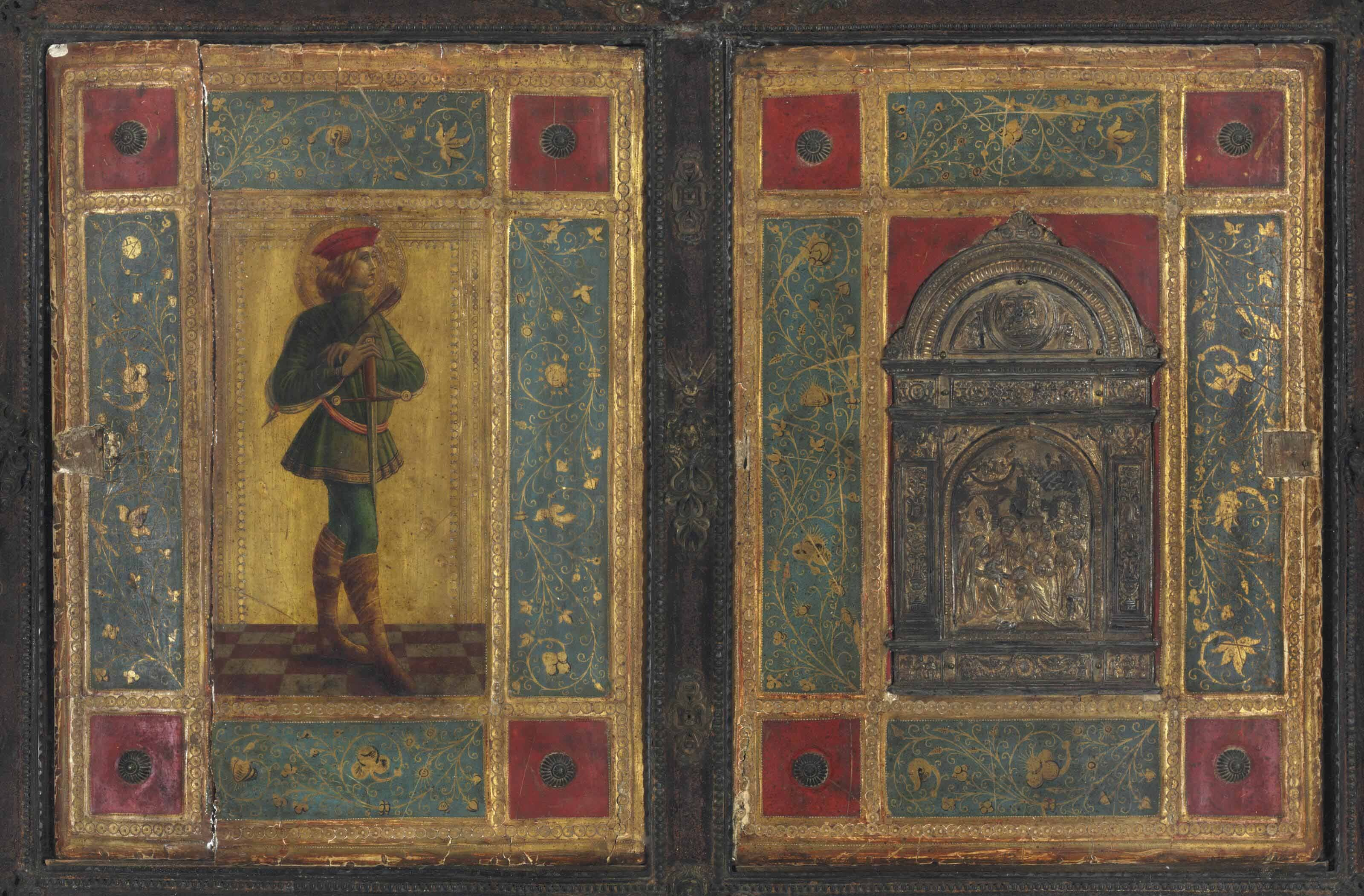Two panels from one of Icilio Joni's forged Sienese bindings.