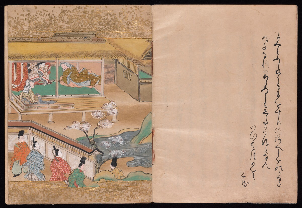 YAJ 5c0. Opening of a bound book. On the left page there is a painting of five suitors standing outside a wall which surrounds a traditional Japanese home. Two female figures and one male figure are shown inside the home. On the right page facing the painted image are four lines of Japanese on a cream colored page.