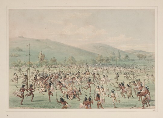 "An image taken from George Catlin's North American Indian portfolio (1844 or later) shows a ""ball play"
