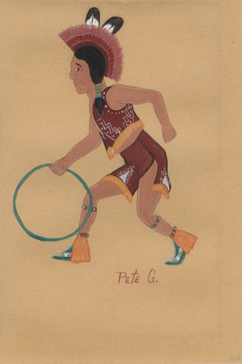 picture made by Peter García, of: [Man, likely playing a hoop game], dated 1943.