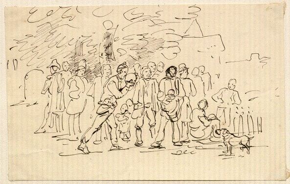 drawing of players bowling by Rodolphe Töpffer