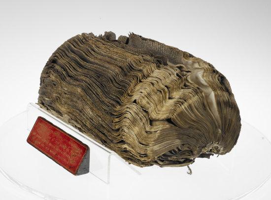 Royal MS 9 C X. Unconserved manuscript after the Cotton Fire.
