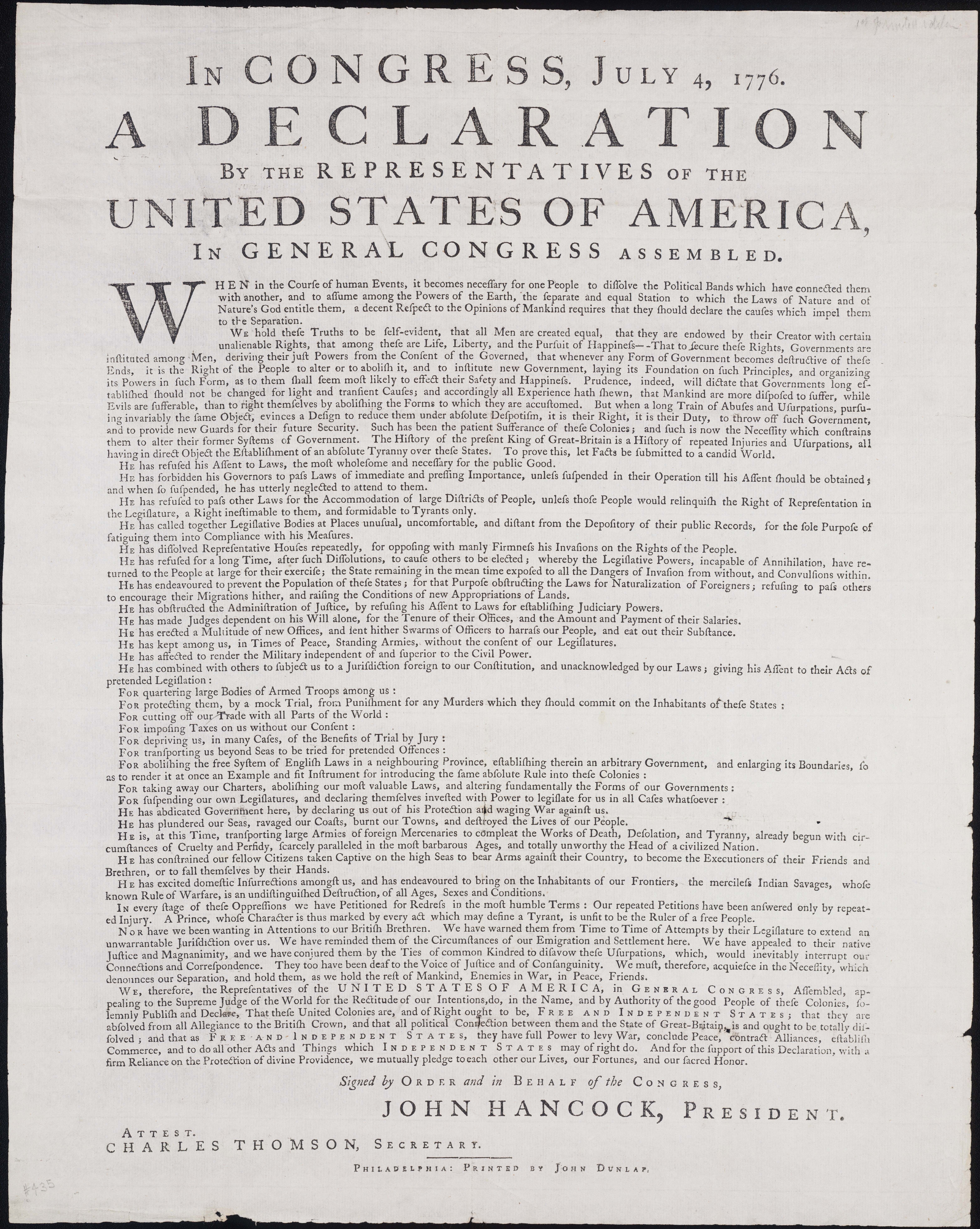 It is a photo of Printable Copy of the Declaration of Independence intended for decoration