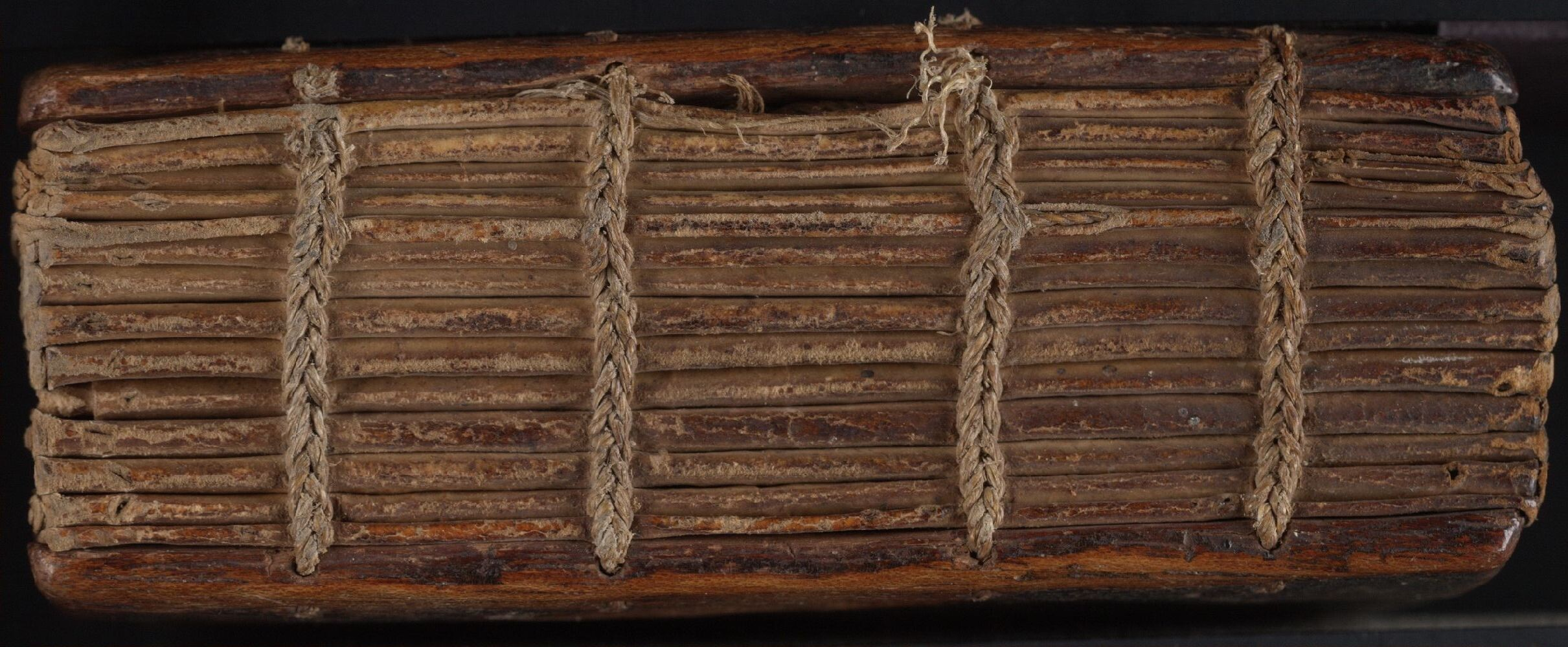 Ethiopic MSS 5. Side of a codex, displaying chain stitching binding.