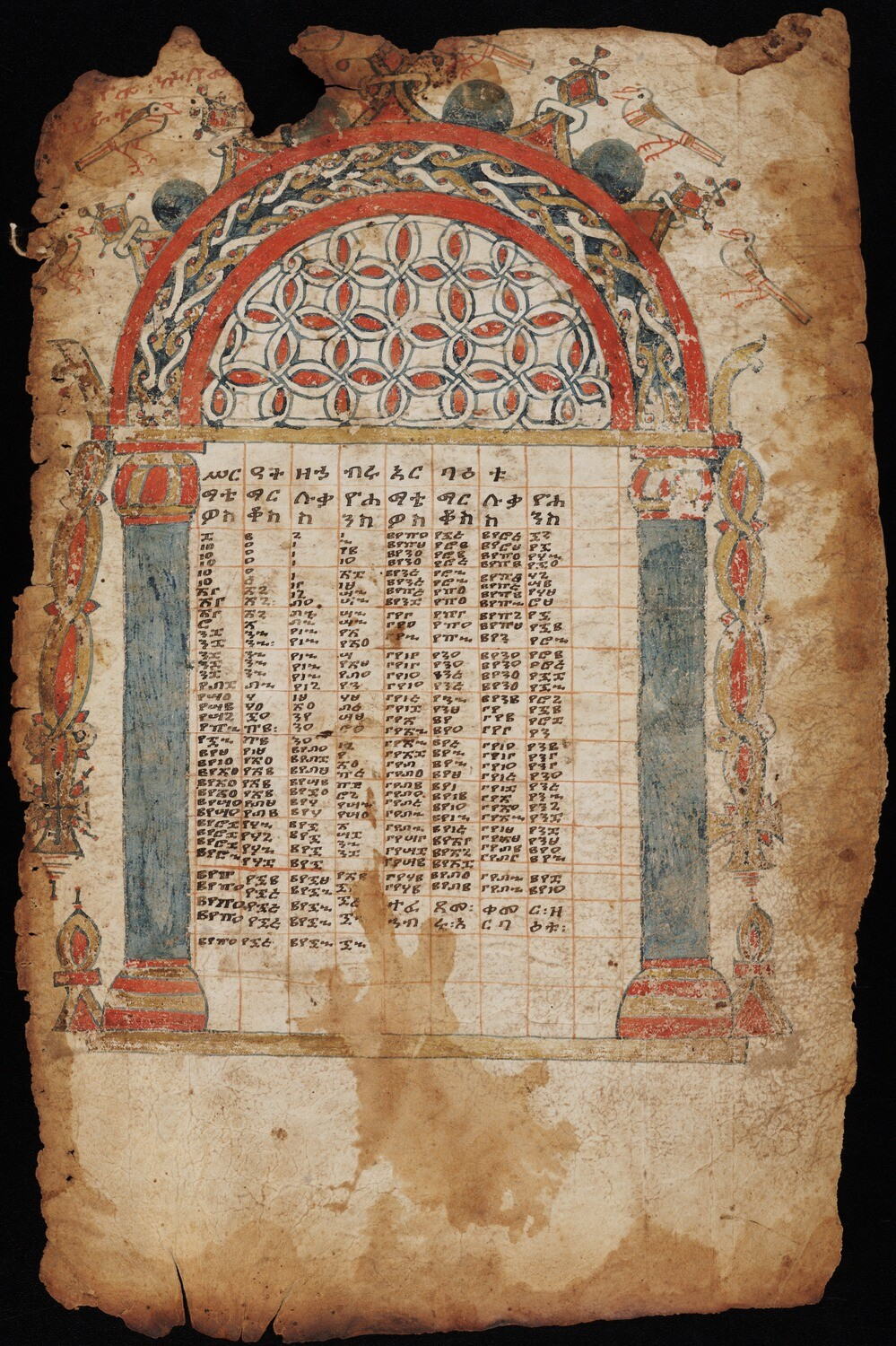 Single folio with large arch at top and several columns descending from the arch. This is a canon table.