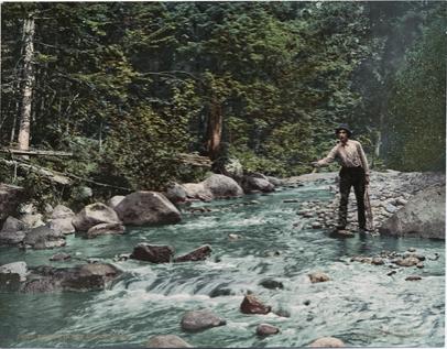 Postcard of fishing in the Adirondacks