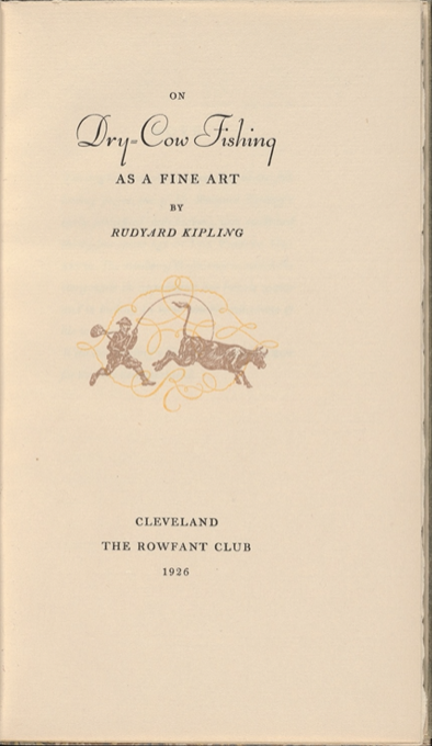 "Cover of ""On dry-cow fishing as a fine art"" by Rudyard Kipling"
