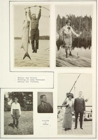 Sylvia and Edwin Beinecke fishing on Lake Michigan
