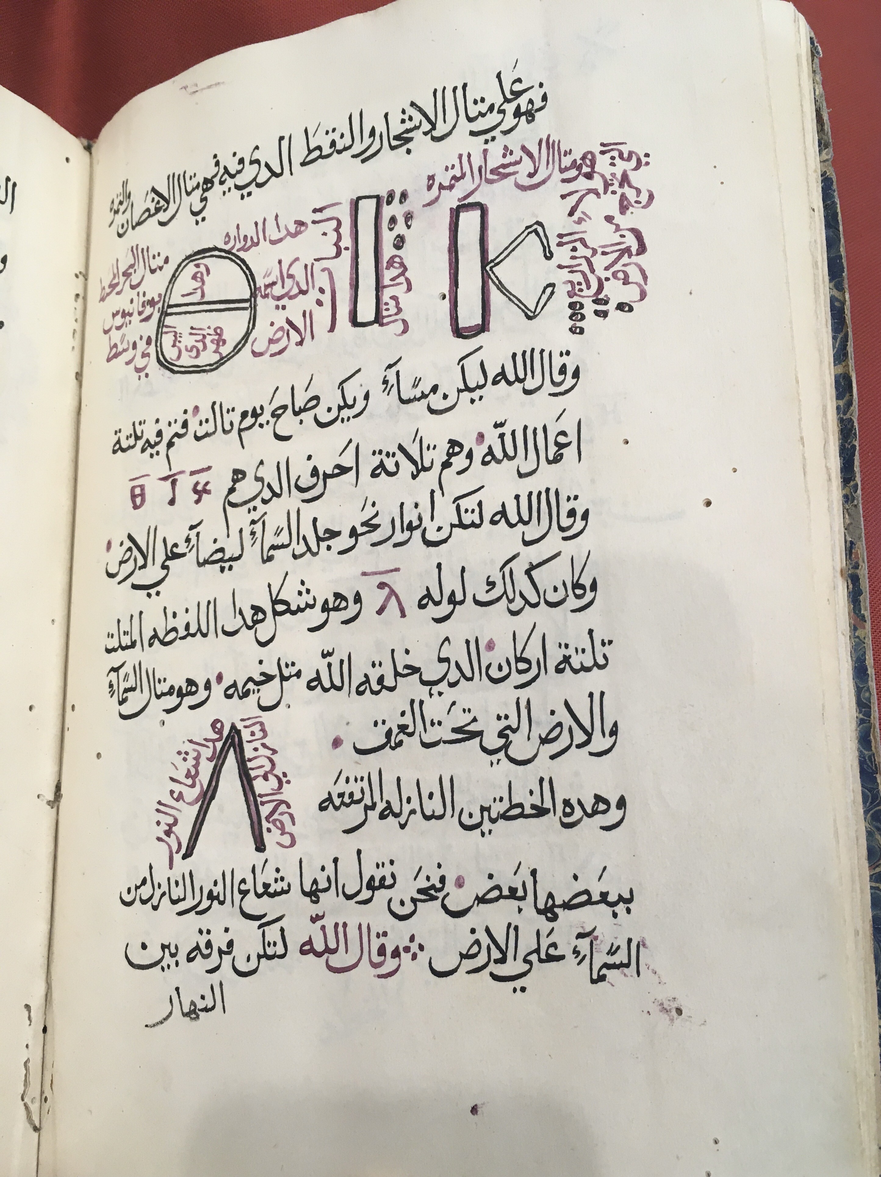 An image of a manuscript page with Arabic text in black ink and illustrations of four Greek letters in red and black ink.