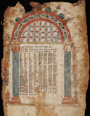 A single parchment leaf with a red, gold, and blue round arch. Within the arch is a gridded table with the text of the canon table. Ethiopic MSS 31.