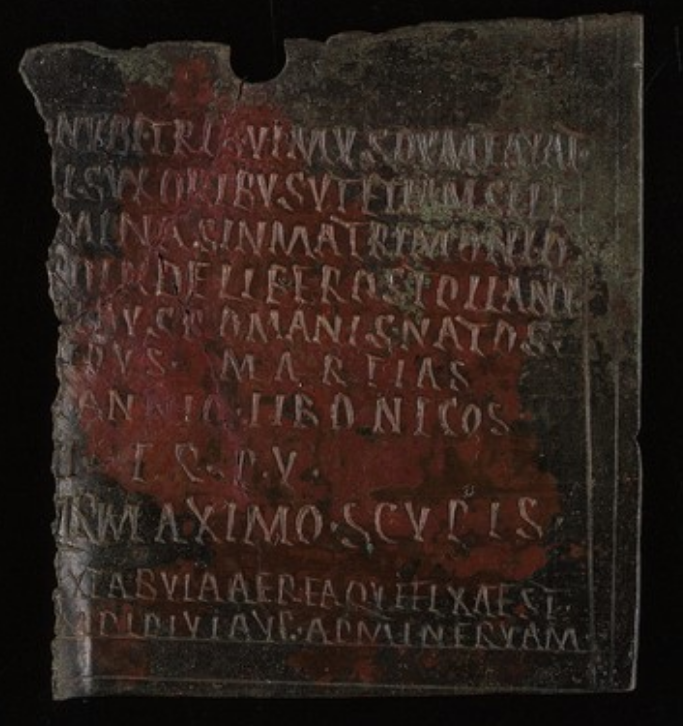 Roman bronze diploma with capital letters Latin text fragment