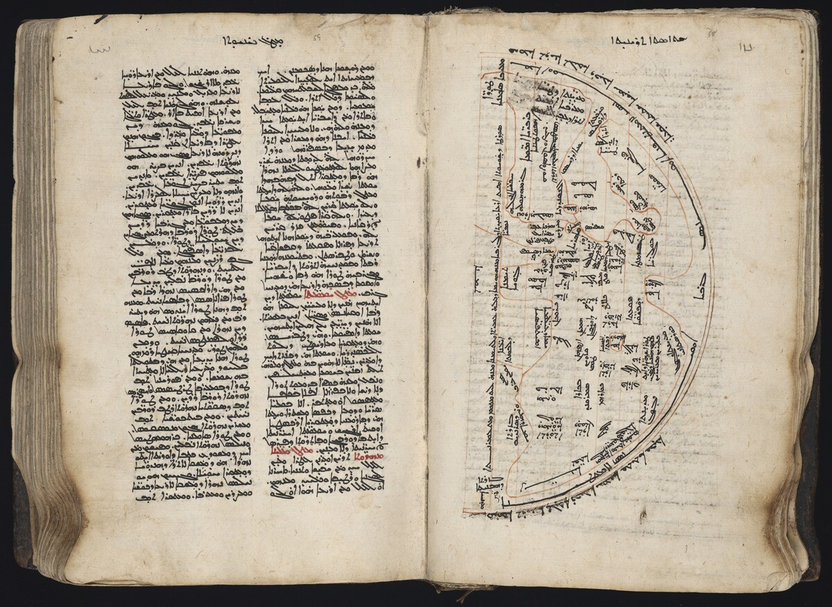 Syriac MS 7. Opening of manuscript showing two facing pages. Two columns of text in Syriac script inblack and red fill the page on the left. On the right is a half circle shaped map of the world, annotated in Syriac.