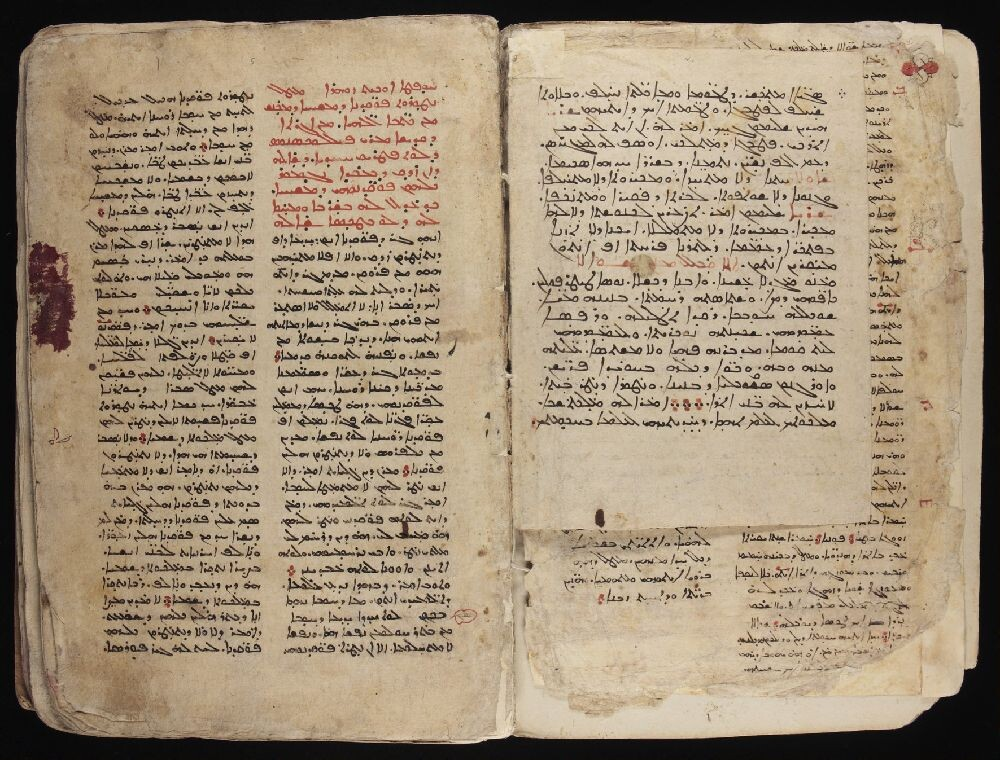 Syriac MS 8. Opening of a Syriac manuscript showing facing pages, with a smaller page tipped in on the right. Text is in black ink, with red rubrication