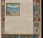 An image of the first folio of this manuscript showing an architectural border and a view of the city of Rome